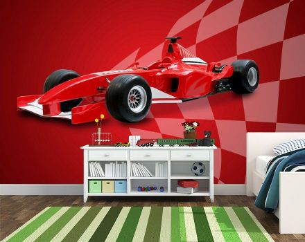 Wallpaper for bedroom Red sports car formel one style